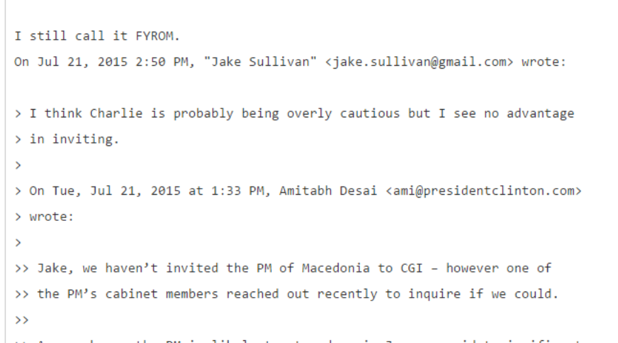 """Hillary Clinton's Campaign Chair John Podesta Refers to Macedonia as """"FYROM"""" in Latest WikiLeaks Release"""