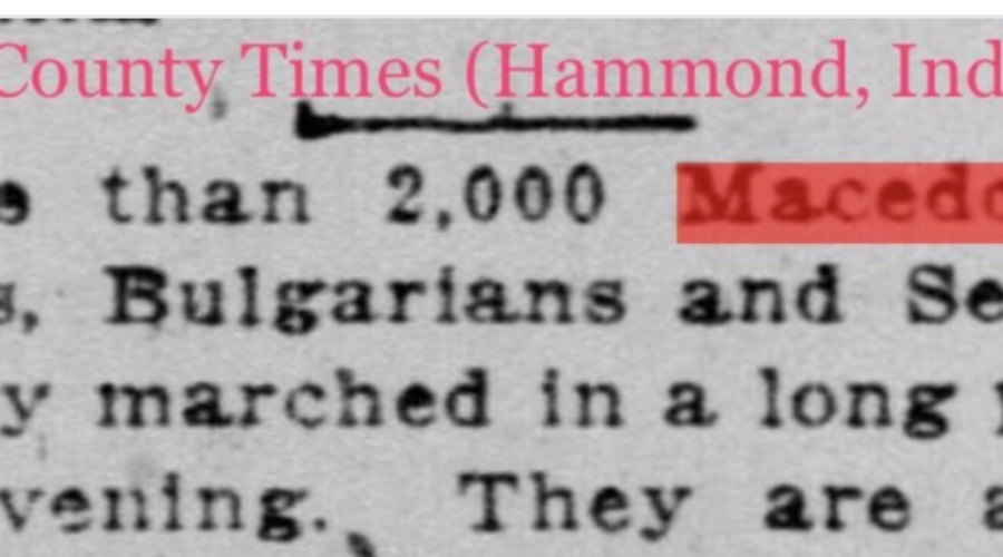 American Article from 1922 Lists Macedonians as a Separate Ethnicity from Greeks, Bulgarians, and Serbians